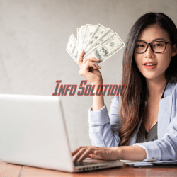 Dollar in a businesswoman hand. an asian woman is working from home or office and glad to get dollar money from work and from a supplementary career or part-time self-employment. Premium Photo