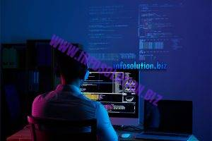 Rear view of programmer working all night long Free Photo 2