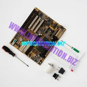 Top view of circuit board and electrical equipment on white surface Free Photo