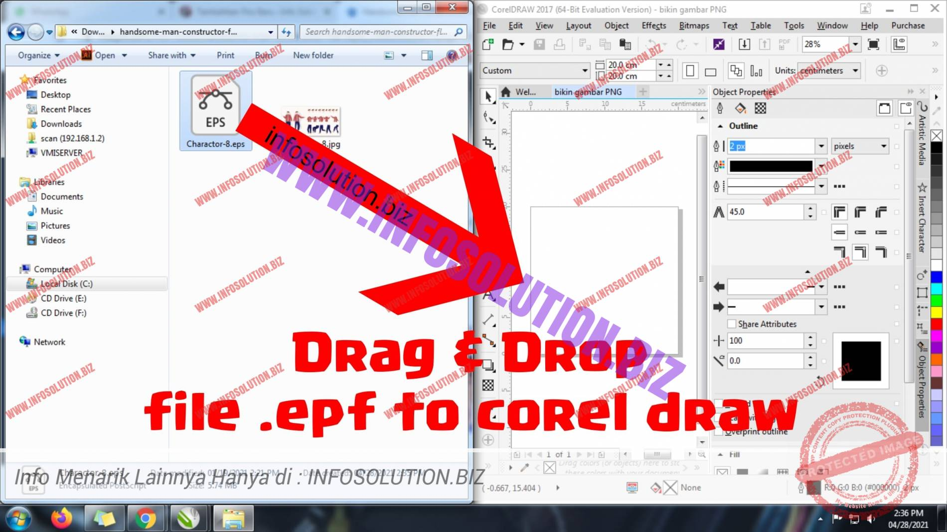 drag and drop file eps to corel draw